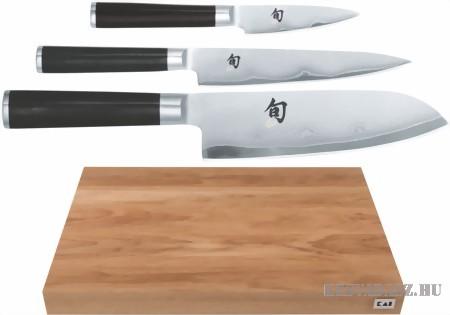 KAI Shun vágódeszka 3 damaszk séf késsel