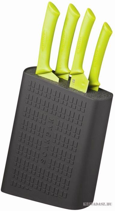 SCANPAN Classic késtartó blokk 4 darab késsel - zöld-fekete